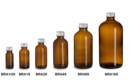 Amber Boston Round Glass Bottles with Silver Caps
