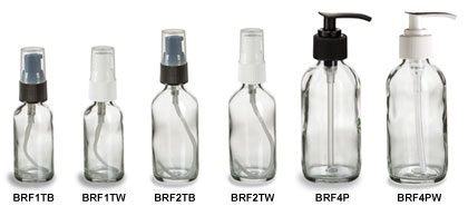 Clear Boston Round Glass Bottles with Pumps