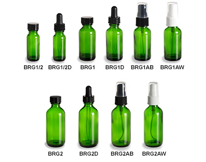 Green Boston Round Glass Bottles
