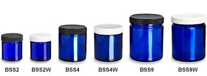 Blue Straight Sided Jars