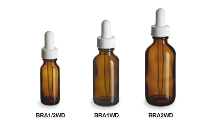 Amber Boston Round Glass Bottles with White Droppers