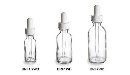 Clear Boston Round Glass Bottles with White Droppers