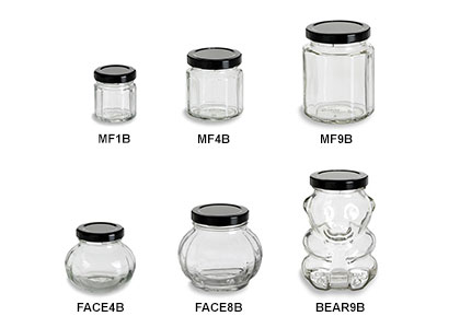 Faceted Jars with Black Lids