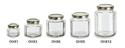 Oval Hexagon Jars with Gold Lids