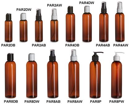 Amber PET Cosmo Round Plastic Bottles