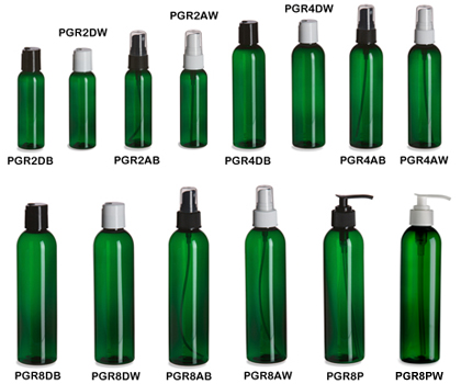 Green PET Cosmo Round Plastic Bottles