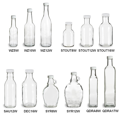 Sauce Bottles with White Caps