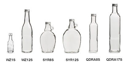 Sauce Bottles with Silver Metal Caps