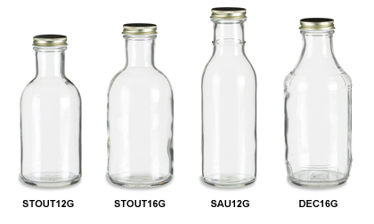 Sauce Bottles with Gold Metal Caps
