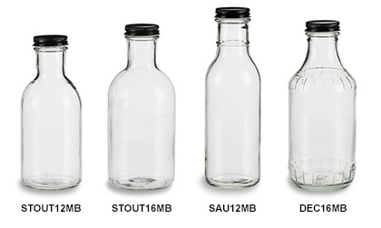 Sauce Bottles with Black Metal Caps