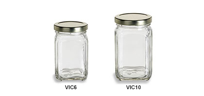 Victorian Square Jars with Gold Lids