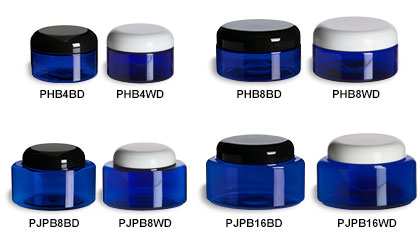 Blue Oval & Round Jars with Dome Lids