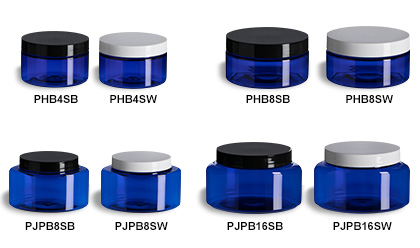 Blue Oval & Round Jars with Smooth Lids