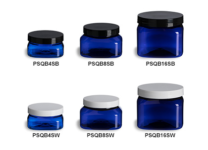 Blue PET Square Jars with Smooth Lids