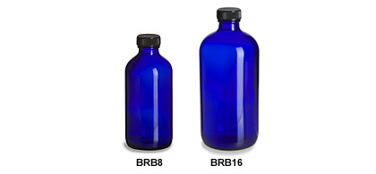 Larger Cobalt Blue Boston Round Glass Bottles