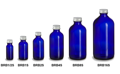 Cobalt Blue Boston Round Glass Bottles with Silver Caps