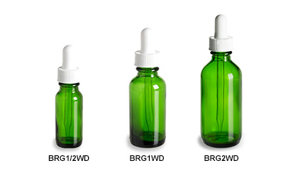 Green Boston Round Glass Bottles with White Droppers
