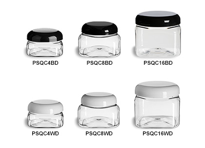 Clear PET Square Jars with Dome Lids