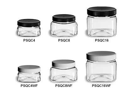 Clear PET Square Jars with Flat Lids