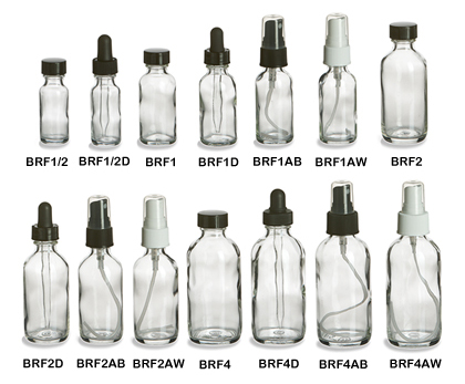 Clear Boston Round Glass Bottles