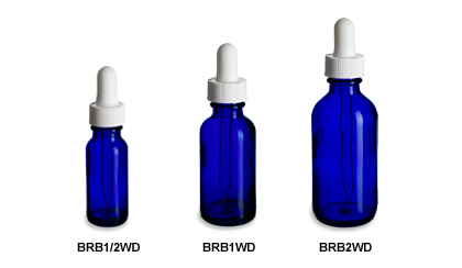 Cobalt Blue Boston Round Glass Bottles with White Droppers