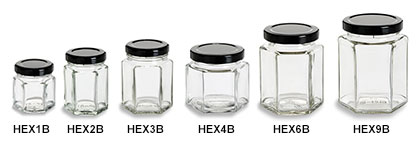 Hexagon Jars with Black Lids