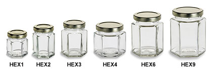 Hexagon Jars with Gold Lids