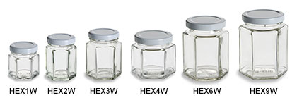 Hexagon Jars with White Lids