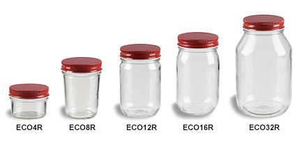 Genial Mason Jars (Canning Jars) With Red Lids