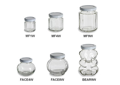 Faceted Jars with White Lids