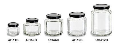 Oval Hexagon Jars with Black Lids