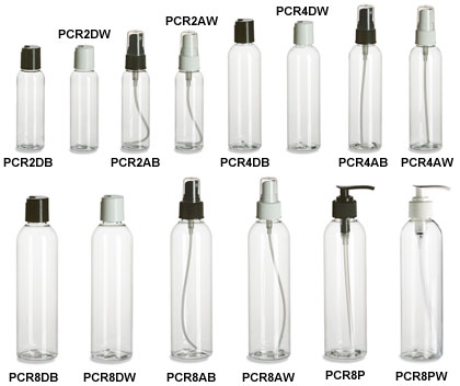 Clear PET Cosmo Round Plastic Bottles