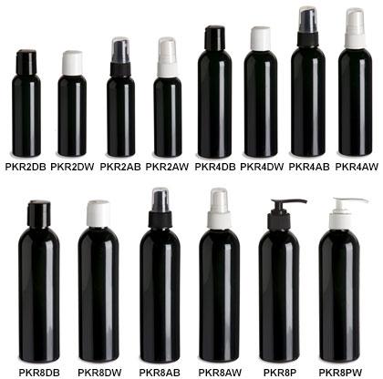 Black PET Cosmo Round Plastic Bottles