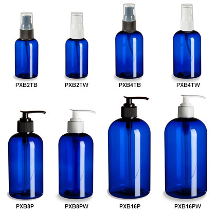 Blue PET Boston Round Bottles with Pumps