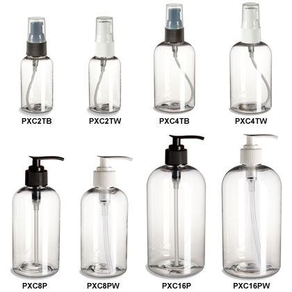 Clear PET Boston Round Bottles with Pumps