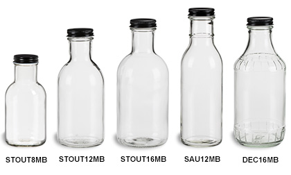 Sauce Bottles with Black Metal Caps