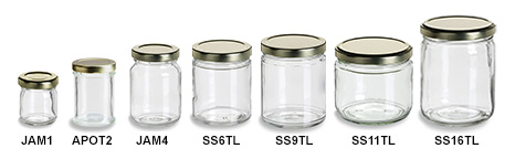 Clear Short Straight Sided Jars with Gold Lids