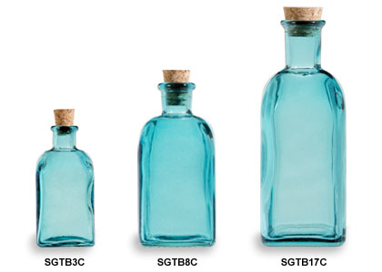Blue Spanish Recycled Glass Bottles with Cork