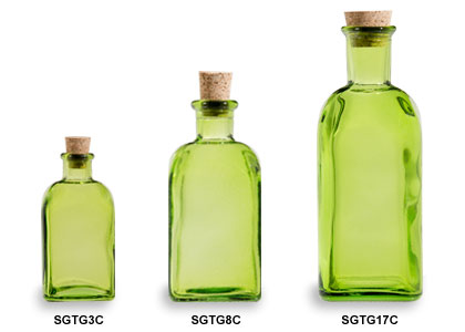 Green Spanish Recycled Glass Bottles with Cork
