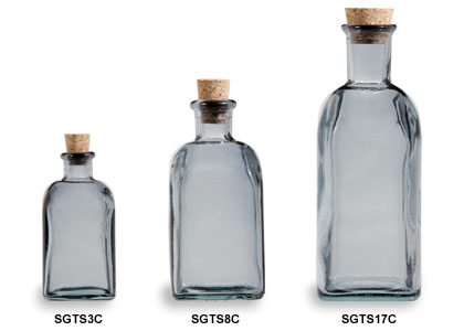 Slate Gray Spanish Recycled Glass Bottles with Cork