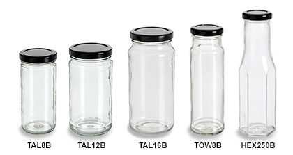 Clear Tall Straight Sided Jars with Black Lids