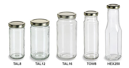 Clear Tall Straight Sided Jars with Gold Lids