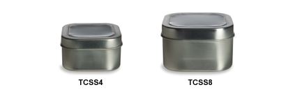 Clear Top Square Tin Containers