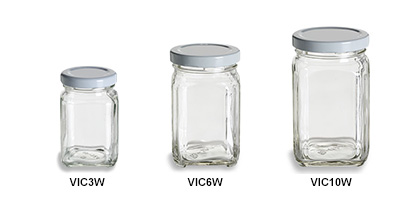 Victorian Square Jars with White Lids